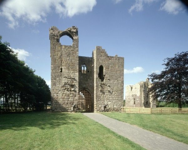 ETAL CASTLE, Northumberland. View of the Gatehouse and the Tower House looking West