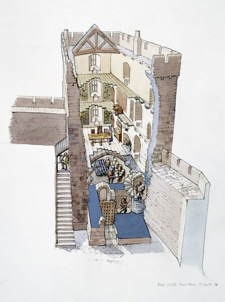 "ETAL CASTLE, Northumberland. ""Cutaway of the Tower House"". A reconstruction drawing by Terry Ball (English Heritage Graphics Team)"