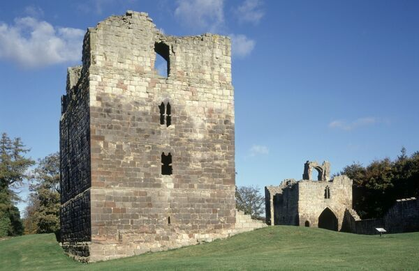 ETAL CASTLE, Northumberland. View of the Tower House from the west with the Gatehouse beyond