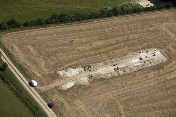 Damerham, Hampshire. Excavation in progress at Dampney Long Barrow, 2012