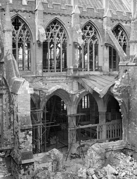 EXETER CATHEDRAL, Devon. On the night of 3-4 May 1942 a bomb fell on the Chapel of St James in the south choir aisle of the cathedral, causing considerable damage to the late 13th-century fabric