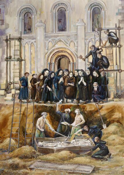 GLASTONBURY ABBEY, Somerset. Exhumation of Arthur and Guinivere 1193 by Judith Dobie (English Heritage Graphics Team)