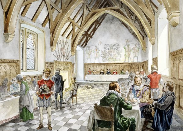 FARLEIGH HUNGERFORD CASTLE, Somerset. Reconstruction drawing by Philip Corke of the interior of the great hall in c1660