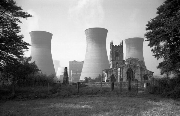FERRYBRIDGE, Brotherton, North Yorkshire. View of the 19th century church of St Edward's in the foreground, dwarfed by the cooling towers of Ferrybridge 'B' power station. Date range 1960 - 1980. Eric de Mare