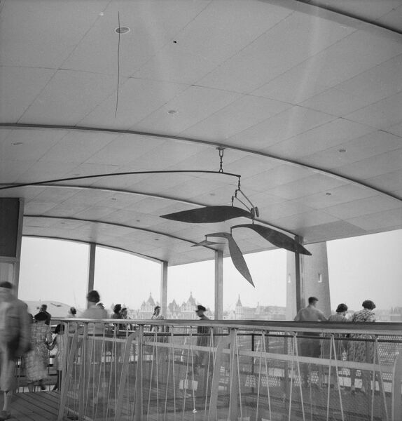 Festival of Britain, South Bank, Lambeth, London. Inside the Viewing Tower with a hanging mobile by Lynn Chadwick at the South Bank Exhibition site during the Festival of Britain. Photographed by M W Parry in 1951