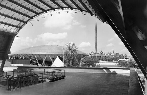 Festival of Britain, South Bank, Lambeth, London. The upstream section of the exhibition site, seen from the Waterloo Station entrance. Photographed in 1951