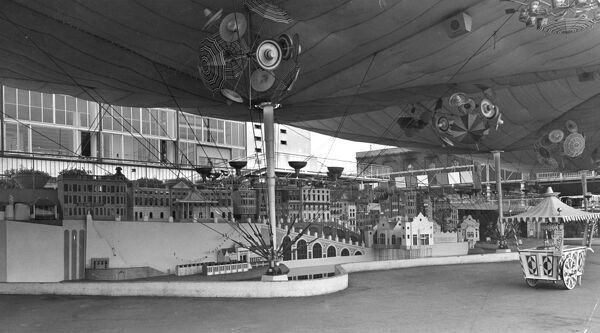 Festival of Britain, South Bank, Lambeth, London. The Seaside Pavilion with an exhibit showing a typical English seaside town - designed and displayed by Eric Brown and Peter Chamberlain. Photographed in July 1951