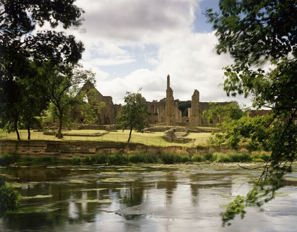 FINCHALE PRIORY, Durham. View from accross the River Wear