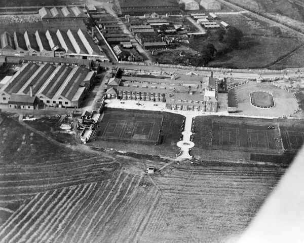 LONDON AERODROME, Hendon. The first ever Aerofilms commercial aerial photograph taken in July 1919 showing the London Country Club (formerly the London Flying Club). The building was later used as Hendon Police College, which opened in 1934