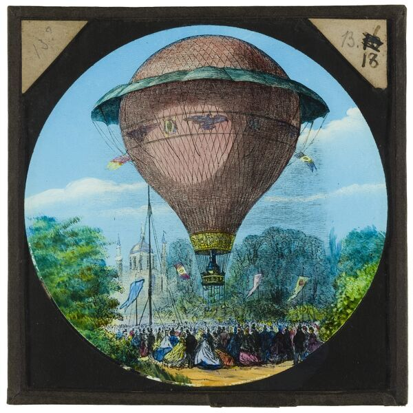 Tales of balloon flight. A hand-coloured engraving of a balloon ascending above a large crowd. This engraving may depict the first manned hydrogen balloon flight by Jacques Charles and Nicolas-Louis Robert, who launched from the Tuileries Gardens