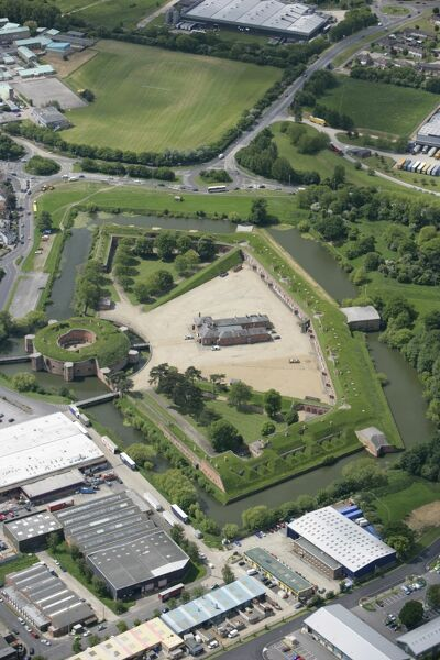 FORT BROCKHURST, Gosport, Hampshire. Aerial view of the brick fort built in the 1860s to defend Portsmouth Harbour
