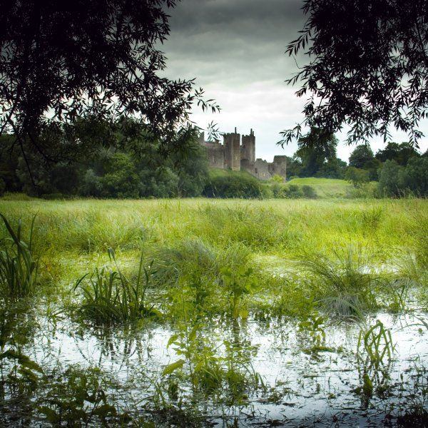FRAMLINGHAM CASTLE, Suffolk. View across the mere with the castle in the background
