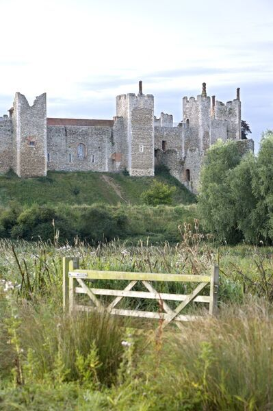 FRAMLINGHAM CASTLE, Suffolk. View of the castle from the mere with gate