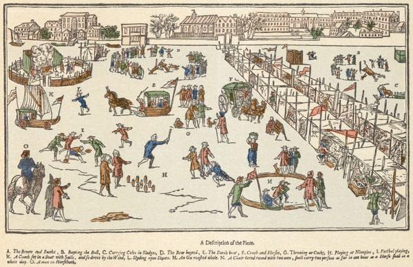 "RIVER THAMES, London. ""A true description of the blanket fair upon the River Thames in the time of the Great Frost in the year of our Lord 1683"