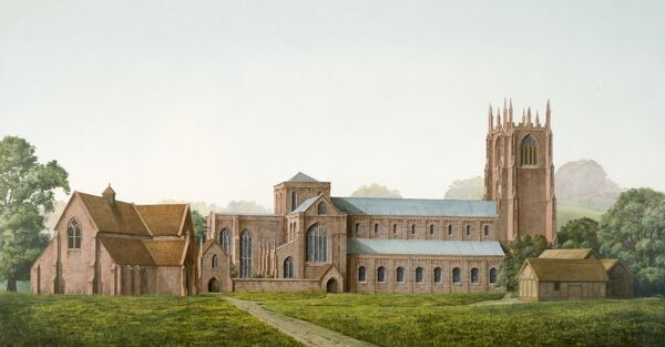 FURNESS ABBEY, Barrow in Furness, Cumbria. A reconstruction painting of Furness Abbey by Frank Gardiner (English Heritage Graphics Team)