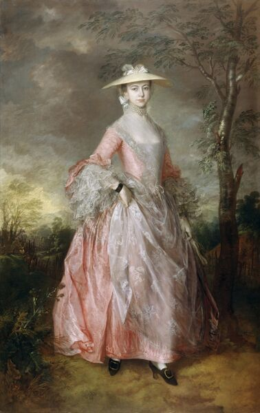 "KENWOOD HOUSE, THE IVEAGH BEQUEST, London. "" Mary Countess Howe "" c1760 by Thomas GAINSBOROUGH (1727-88). Canvas 96""x60"" (244 x 152.4cm)"