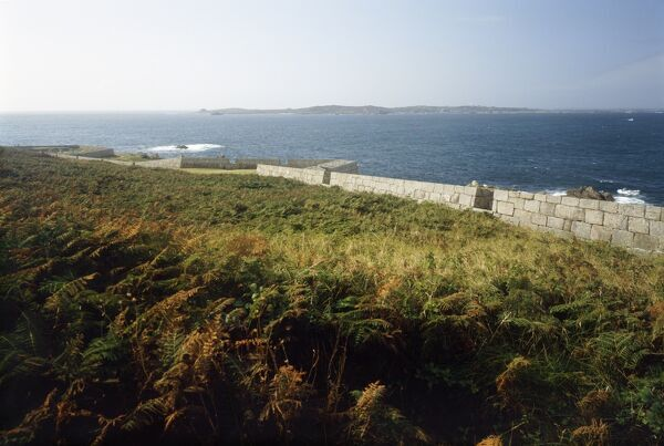 GARRISON WALLS, St Mary's, Isles of Scilly. General view along the wall from the interior