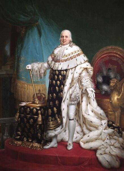"APSLEY HOUSE, London. ""Louis XVIII, King of France"" (1755-1824) by Baron Francois-Pascal-Simon GERARD (1770-1837). WM 1464-1948. Presented to Wellington in 1826 by Charles X, King of France, in accordance with the late King's wishes"