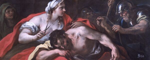 "APSLEY HOUSE, London. ""Samson and Delilah"" by Luca GIORDANO (1634-1705). From the Spanish Royal Collection. WM 1631-1948. Captured by Wellington at Vitoria, 1813"