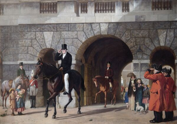 "APSLEY HOUSE, London. ""His Last Return for Duty"" 1853 by James W GLASS (1825-57). Wellington riding from Horse Guards. WM 1562-1948. The Duke of Wellington rides away from his office for the last time as Commander in Chief"