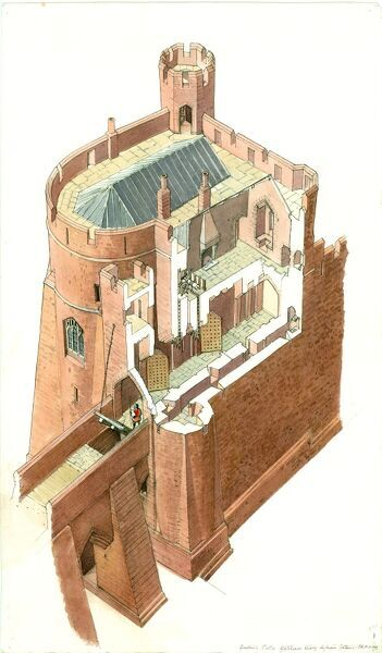 GOODRICH CASTLE, Herefordshire. Aerial view cutaway reconstruction drawing of the Gatehouse by Terry Ball (English Heritage Graphics Team). 15th century