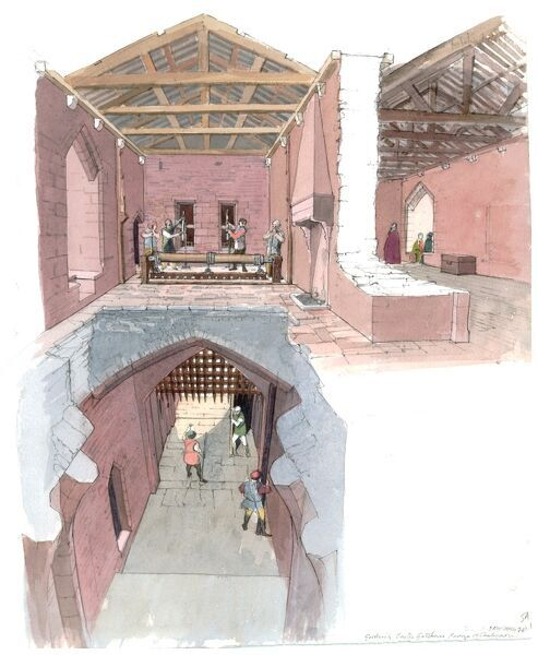 GOODRICH CASTLE, Herefordshire. Cutaway reconstruction by Terry Ball (English Heritage Graphics Team) of the gatehouse, facing east showing the winches in the upper chamber designed to raise the portcullises