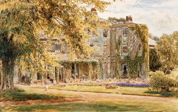 DOWN HOUSE, Downe, Kent. Watercolour of Down House in 1880 by Albert Goodwin (1845-1932)