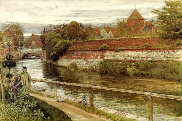"DOWN HOUSE, Kent. "" Old Walls Winchester "" by Albert Goodwin (1845-1932)"
