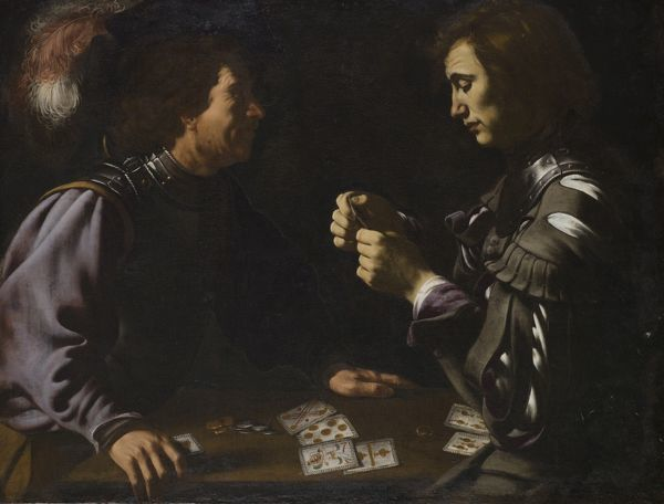 "APSLEY HOUSE, London. ""The Gamblers"" or ""Card Players"" Antiveduto GRAMMATICA (1571-1626) a follower of CARAVAGGIO. WM 1635-1948. Probably Spanish Royal Collection, captured at Vitoria 1813. Originally catalogued as Caravaggio"