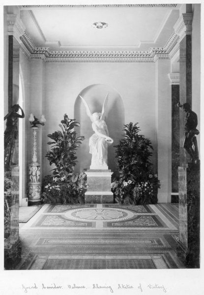 OSBORNE HOUSE, Isle of Wight. The Ryde Album. Interior view. The grand corridor showing the Statue of Victory c.1890