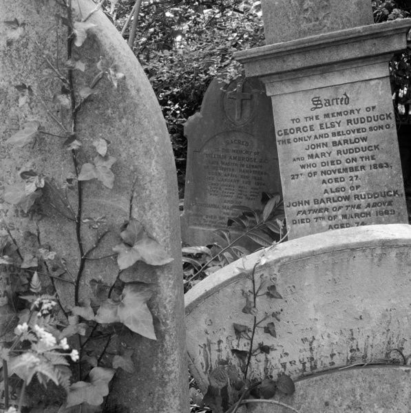 HIGHGATE CEMETERY, Hampstead, Greater London. Gravestones in the West Cemetery, showing the headstones of George Elsy Ruddock (d.1863) and William Ambrose (1832-1908), 'Late Master in Lunacy', a barrister who regulated the affairs of Chancery Lunatics