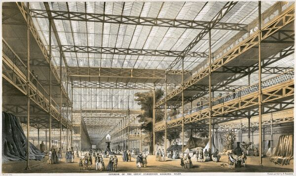 GREAT EXHIBITION OF 1851, Hyde Park, Westminster, London. Crystal Palace. Interior of the Great Exhibition looking West. Durond lith in black and tints. From the Mayson Beeton Collection