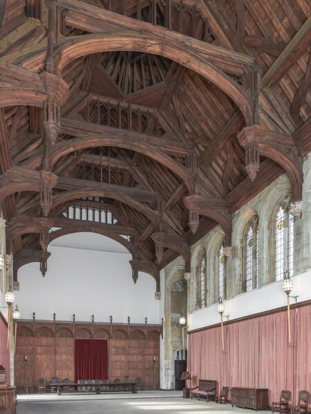 ELTHAM PALACE, London. Interior. The Great Hall, built for Edward IV in the 1470's and restored by the Courtaulds in the 1930's. View from south east