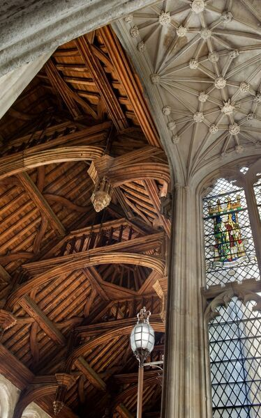 ELTHAM PALACE, London. Interior view. Detail of the Great Hall showing hammerbeam roof