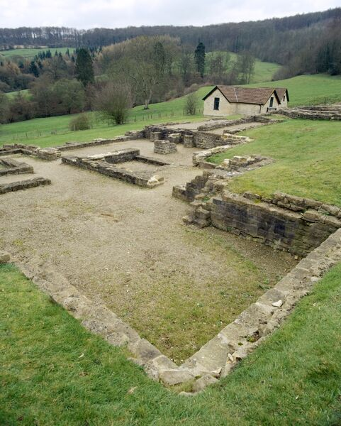 GREAT WITCOMBE ROMAN VILLA, Gloucestershire. View of the remains of the Roman villa