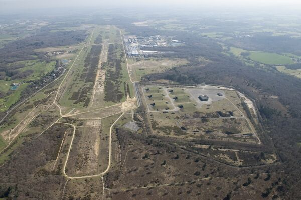 Greenham Common, West Berkshire. Former RAF and USAAF airfield, with the GAMA Complex (cruise missile storage bunkers) to one side. The airfield was operational between 1942 and 1993