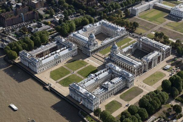 Royal Naval College, Greenwich, London. Originally founded as a hospital for seamen in the 1690s, its architects include Christopher Wren, Nicholas Hawksmoor and John Vanbrugh