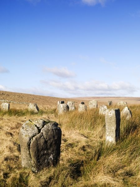 GREY WETHERS STONE CIRCLES, Dartmoor, Devon. View of the stones