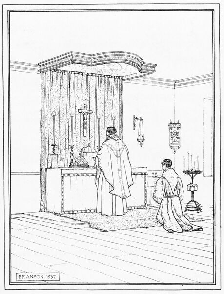 GREYFRIARS, Walsingham, Norfolk. Pen and ink sketch showing interior view of altar with tester and dossal in temporary chapel of Capuchin friary. 1937 sketch by Peter Anson
