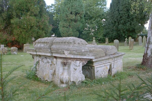 Tombs. Group of 3 C17 Bale Tombs, St Lawrence's Church, Bourton on the Water. IoE 126453