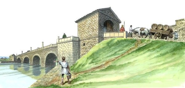 HADRIAN'S WALL CHESTERS BRIDGE ABUTMENT, Northumberland. Reconstruction drawing by Philip Corke. hadrian