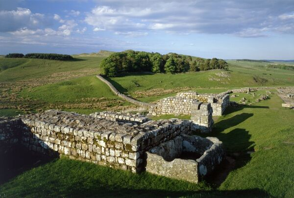 HADRIAN'S WALL: HOUSESTEADS FORT, Northumberland. View from the North Gate showing the wall stretching off into the distance. hadrian