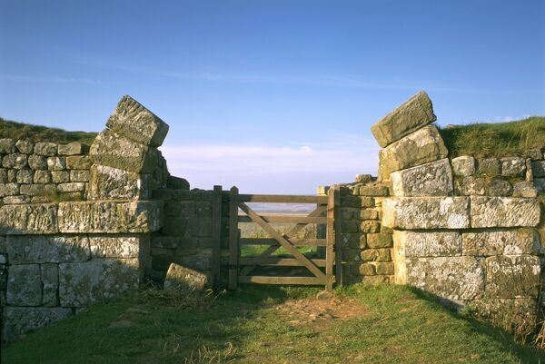 HADRIAN'S WALL: HOUSESTEADS ROMAN FORT, Milecastle, Northumberland. The north gate. hadrian