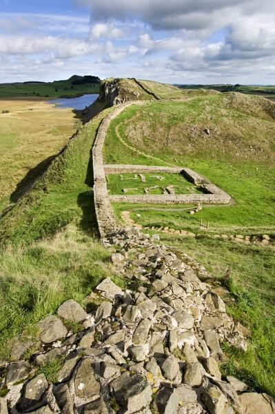 HADRIAN'S WALL, Northumberland. General view of the wall with Milecastle 39. hadrian