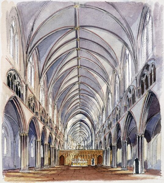HAILES ABBEY, Gloucestershire. A reconstruction drawing of the The Nave, by Terry Ball (English Heritage Graphics Team)