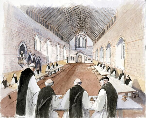 HAILES ABBEY, Gloucestershire. A reconstruction drawing of The Refectory, by Terry Ball (English Heritage Graphics Team)