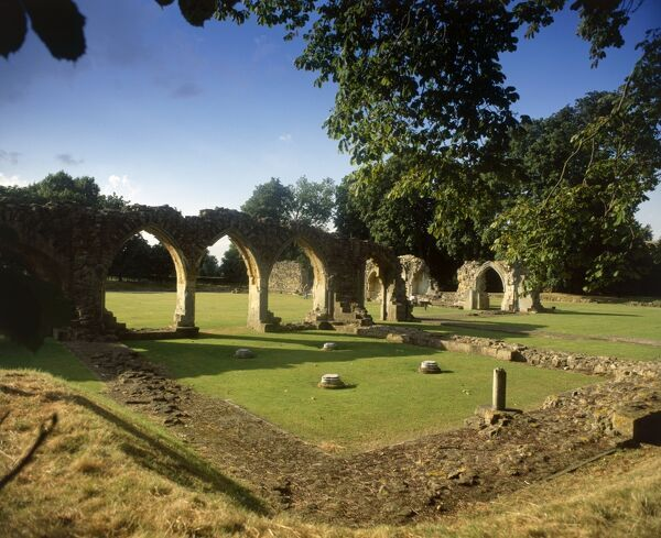 HAILES ABBEY, Gloucestershire. View of the chapter house and the arches of the cloister