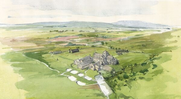 HAILES ABBEY, Gloucestershire. The medieval buildings, fishponds, watercourses and other features of the abbey estate shown in their landscape setting. Aerial reconstruction by Terry Ball (English Heritage Graphics Team)