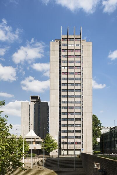 Coventry University Quadrant Hall and Priory Hall (University Halls of Residence), Priory Street, Coventry, West Midlands.   Exterior, viewed from the west