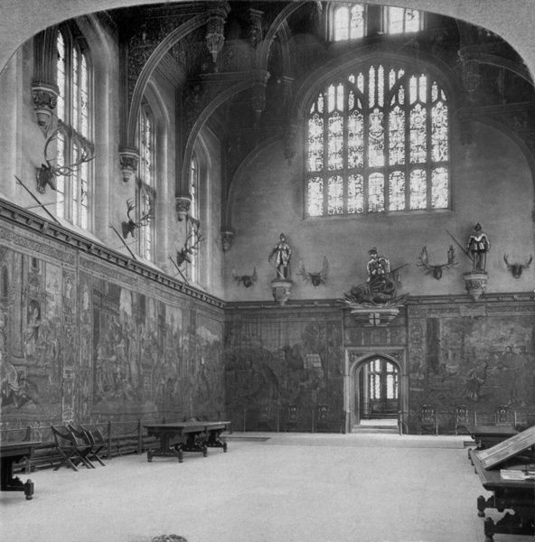 GREAT HALL, Hampton Court Palace, Richmond-upon-Thames, London. Begun for Cardinal Wolsey in 1514, but following his disgrace the palace was seized by Henry VIII. The Great Hall was built for Henry VIII in 1523-4 to replace Cardinal Wolsey's hall